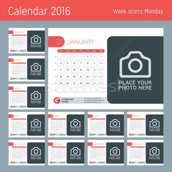 Stock photo: Calendar for 2016 Year. Vector Design Calendar Template with Place for Photo. Week Starts Monday. Se