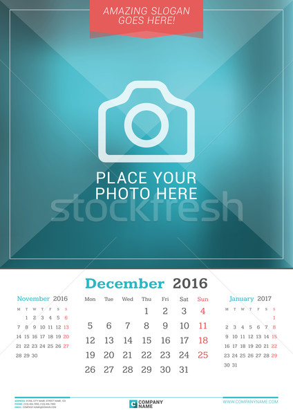 Stock photo: December 2016. Wall Monthly Calendar for 2016 Year. Vector Design Print Template with Place for Phot