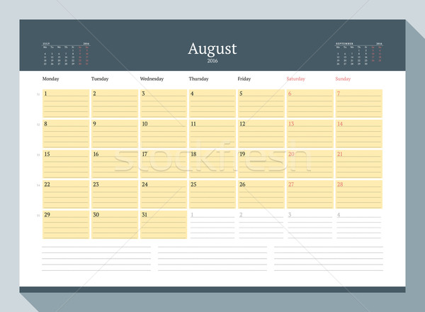 Agosto 2016 mensile calendario anno Foto d'archivio © mikhailmorosin