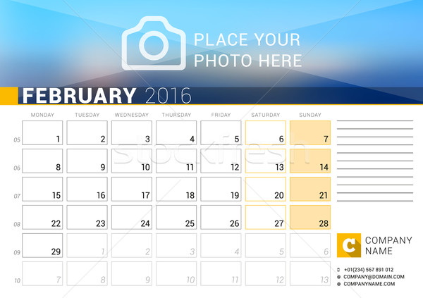 Desk Calendar for 2016 Year. February. Vector Design Print Template with Place for Photo, Logo and C Stock photo © mikhailmorosin