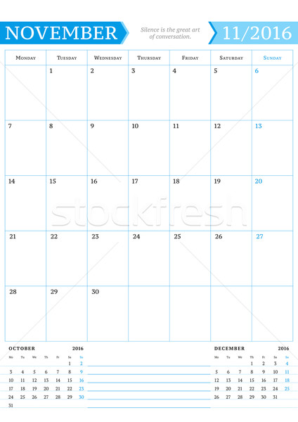 November 2016. Monthly Calendar Planner for 2016 Year. Vector Design Print Template with Place for N Stock photo © mikhailmorosin