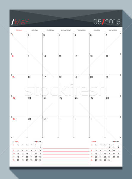 May 2016. Vector Design Print Template. Monthly Calendar Planner for 2016 Year. 3 Months on Page. We Stock photo © mikhailmorosin