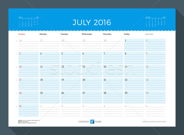 July 2016. Monthly Calendar Planner for 2016 Year. Vector Design Print Template. Week Starts Sunday Stock photo © mikhailmorosin