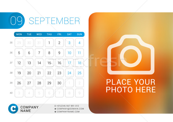 Desk Calendar for 2016 Year. September. Vector Design Print Template with Place for Photo, Logo and  Stock photo © mikhailmorosin