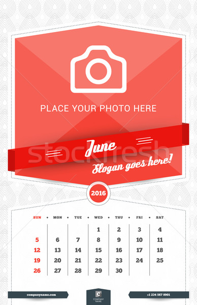 June 2016. Wall Monthly Calendar for 2016 Year. Vector Design Print Template with Place for Photo an Stock photo © mikhailmorosin