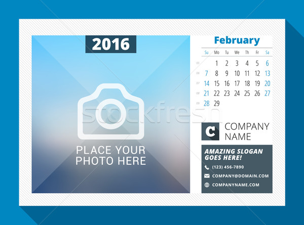 Stock photo: February 2016. Desk Calendar for 2016 Year. Vector Design Print Template with Place for Photo, Logo