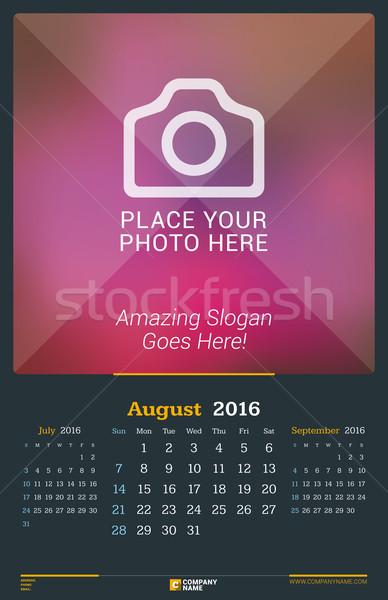 Agosto 2016 pared mensual calendario año Foto stock © mikhailmorosin