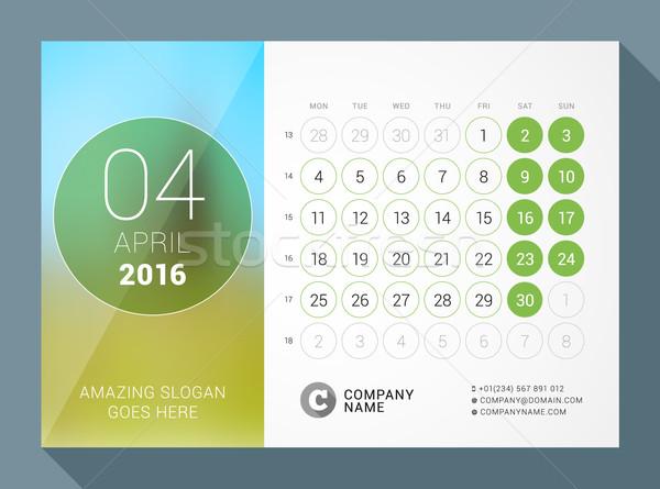 2016 デスク カレンダー 年 ベクトル デザイン ストックフォト © mikhailmorosin