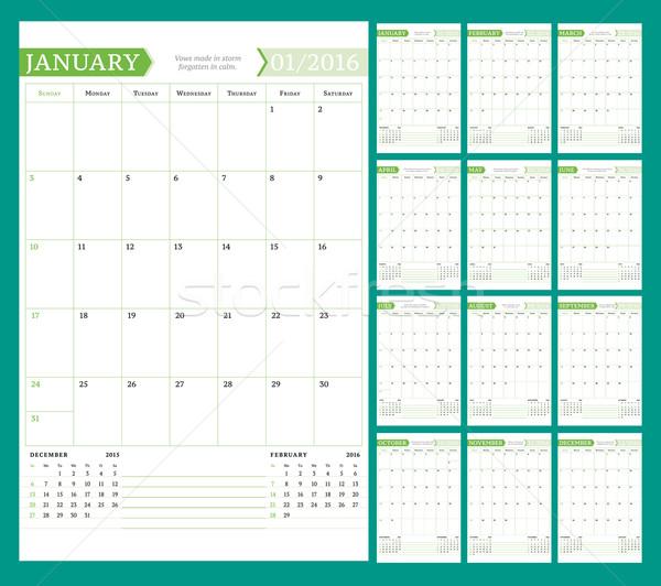 Mensuellement calendrier planificateur 2016 année vecteur Photo stock © mikhailmorosin