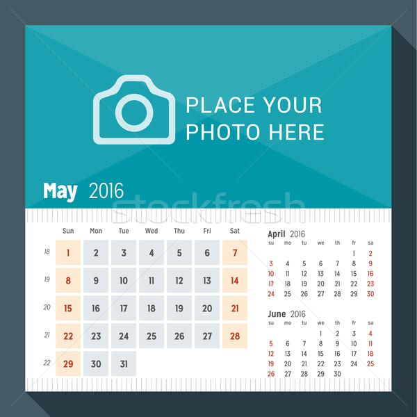 2016 asztal naptár év hét hónapok Stock fotó © mikhailmorosin