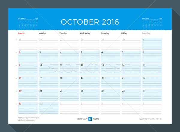 October 2016. Monthly Calendar Planner for 2016 Year. Vector Design Print Template. Week Starts Sund Stock photo © mikhailmorosin