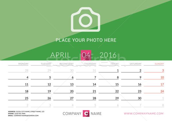 Desk Calendar 2016. Vector Print Template. April. Week Starts Monday Stock photo © mikhailmorosin