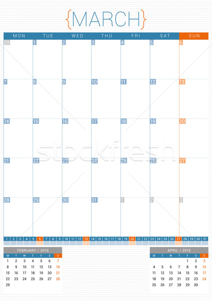 Calendar Planner 2016 Design Template. March. Week Starts Monday Stock photo © mikhailmorosin