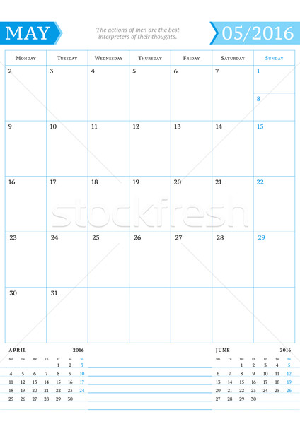 May 2016. Monthly Calendar Planner for 2016 Year. Vector Design Print Template with Place for Notes. Stock photo © mikhailmorosin