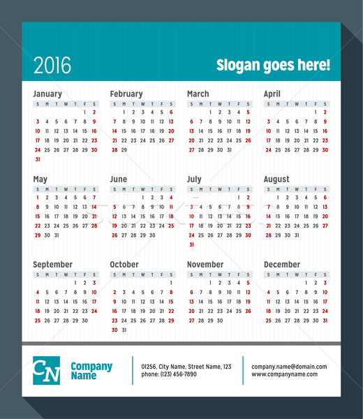 Calendar for 2016 Year. Week Starts Sunday. Vector Design Print Template with Place for Slogan, Logo Stock photo © mikhailmorosin