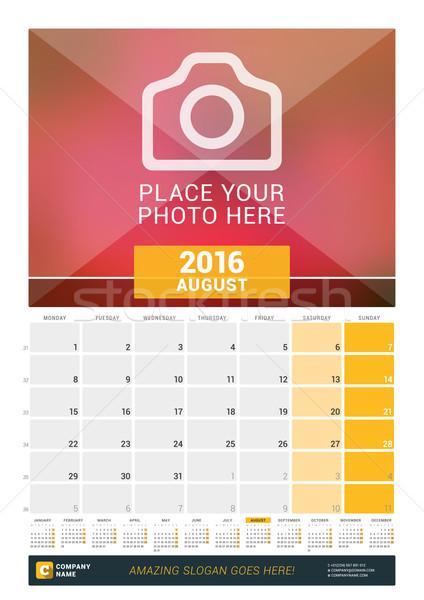 Août 2016 mur mensuellement calendrier année Photo stock © mikhailmorosin