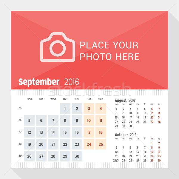 2016 bureau calendrier année semaine mois Photo stock © mikhailmorosin