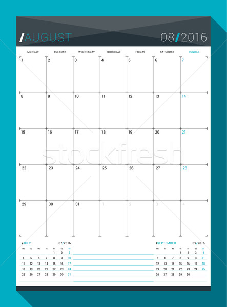 August  2016. Vector Design Print Template. Monthly Calendar Planner for 2016 Year. Week Starts Mond Stock photo © mikhailmorosin