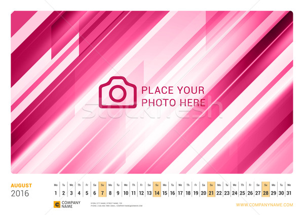 Wall Monthly Line Calendar for 2016 Year. Vector Design Print Template. Landscape Orientation. Augus Stock photo © mikhailmorosin