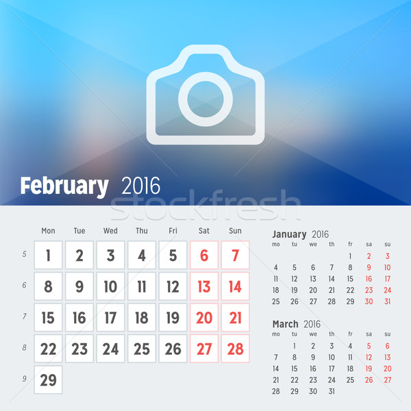 February 2016. Desk Calendar for 2016 Year. Vector Design Print Template with Place for Photo. Week  Stock photo © mikhailmorosin