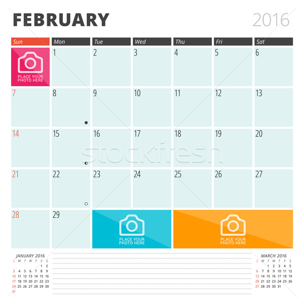 Calendar Planner 2016 Design Template with Place for Photos and Notes. February. Week Starts Sunday Stock photo © mikhailmorosin
