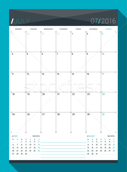 July 2016. Vector Design Print Template. Monthly Calendar Planner for 2016 Year. Week Starts Monday Stock photo © mikhailmorosin