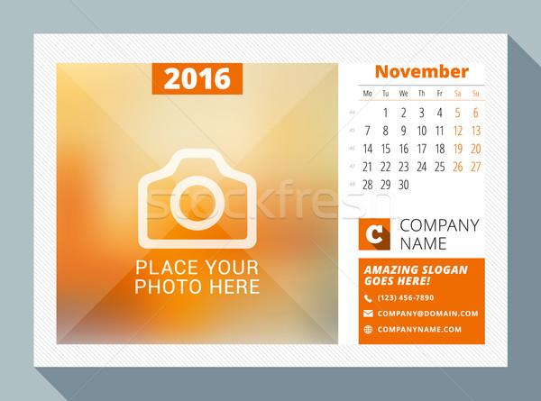 November 2016. Desk Calendar for 2016 Year. Vector Design Print Template with Place for Photo, Logo  Stock photo © mikhailmorosin