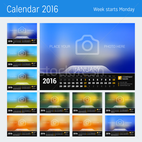 Desk Calendar for 2016 Year. Vector Design Print Template with Place for Photo. Week Starts Monday.  Stock photo © mikhailmorosin