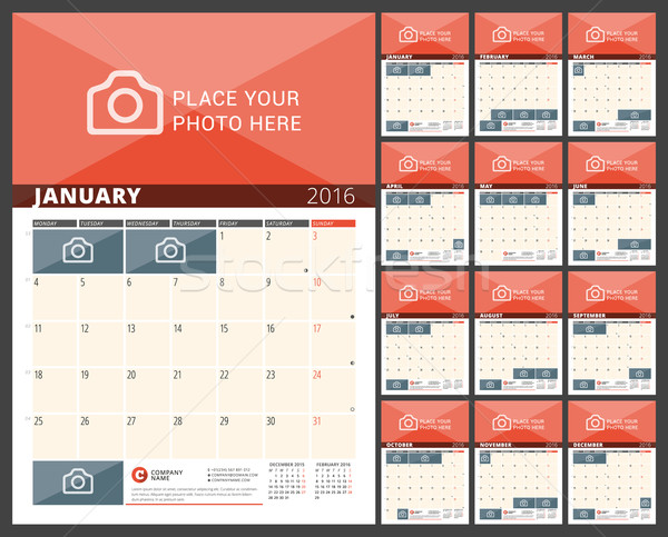 Pared calendario 2016 año vector Foto stock © mikhailmorosin