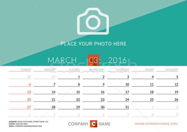 Desk Calendar 2016. Vector Print Template. March. Week Starts Sunday Stock photo © mikhailmorosin