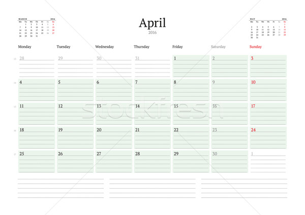 Monthly Calendar Planner 2016. Vector Print Template. April. Week Starts Monday Stock photo © mikhailmorosin