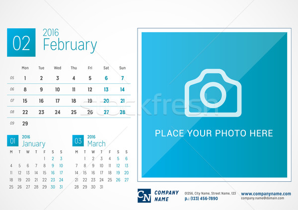 Desk Calendar 2016. Vector Print Template. February. Week Starts Monday Stock photo © mikhailmorosin