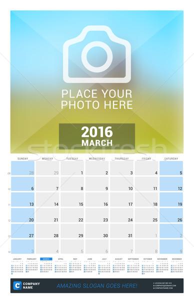 2016 duvar aylık takvim yıl vektör Stok fotoğraf © mikhailmorosin