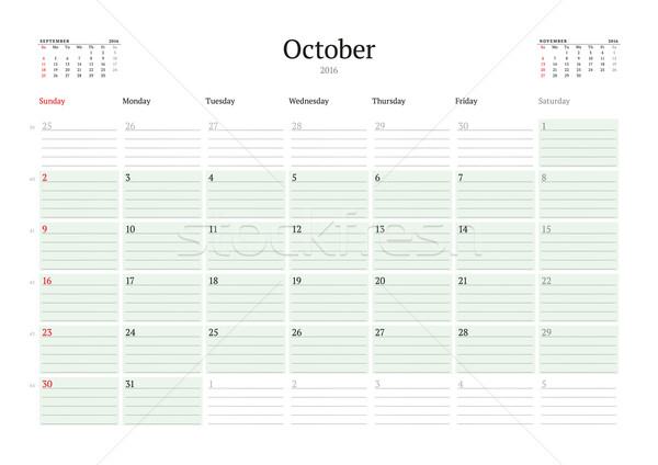 Monthly Calendar Planner 2016. Vector Design Print Template. October. Week Starts Sunday Stock photo © mikhailmorosin