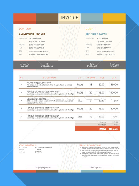 Vector Customizable Invoice Form Template Design. Vector Illustration Stock photo © mikhailmorosin