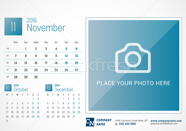Desk Calendar 2016. Vector Print Template. November. Week Starts Monday Stock photo © mikhailmorosin