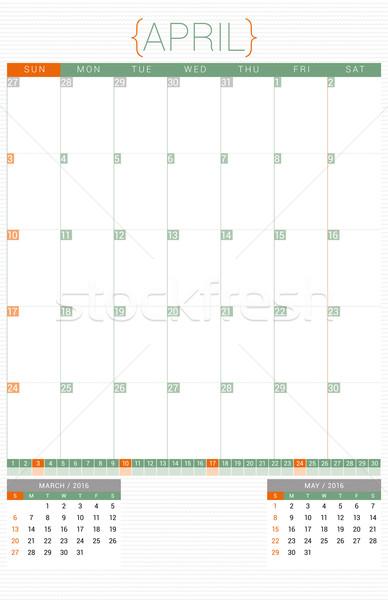 Stock fotó: Naptár · tervező · 2016 · design · sablon · hét · iroda