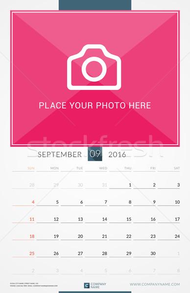 Foto stock: 2016 · parede · mensal · calendário · ano · vetor
