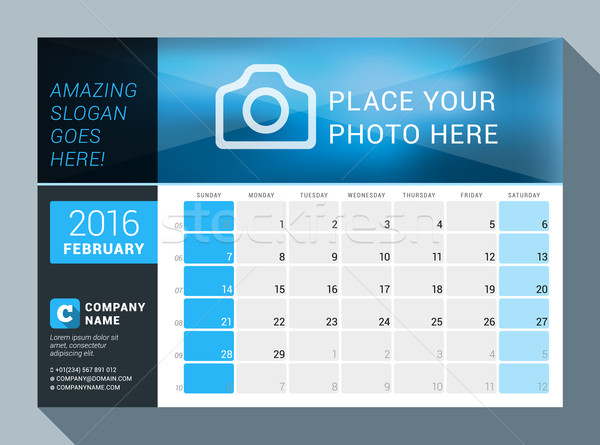February 2016. Vector Design Print Calendar Template for 2016 Year. Place for Photo, Logo and Contac Stock photo © mikhailmorosin