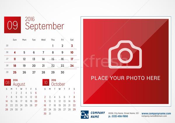 Desk Calendar 2016. Vector Print Template. September. Week Starts Sunday Stock photo © mikhailmorosin