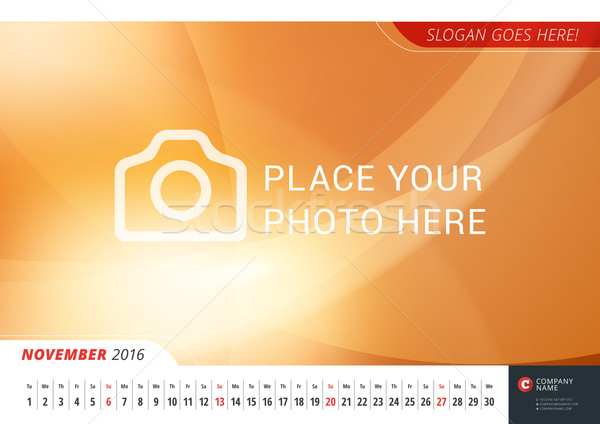 Wall Monthly Line Calendar for 2016 Year. Mpdern Vector Design Print Template with Abstract Backgrou Stock photo © mikhailmorosin