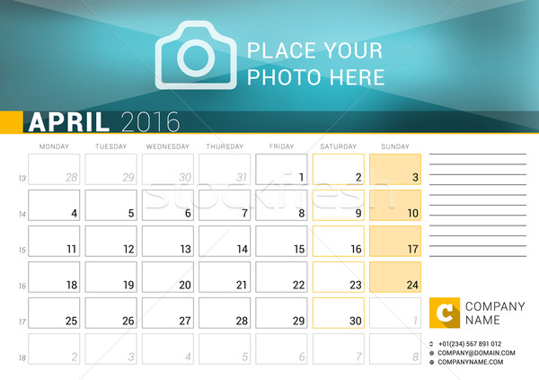 Desk Calendar for 2016 Year. April. Vector Design Print Template with Place for Photo, Logo and Cont Stock photo © mikhailmorosin