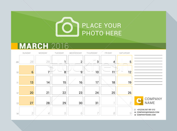 Calendar Planner for 2016 Year. March. Vector Print Template with Place for Photo, Logo and Contact  Stock photo © mikhailmorosin
