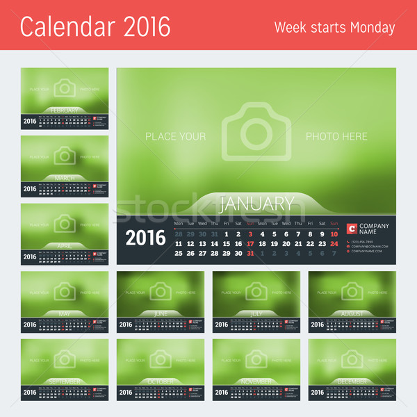 Line Calendar for 2016 Year. Vector Design Print Template. Week Starts Monday. Set of 12 Months Stock photo © mikhailmorosin