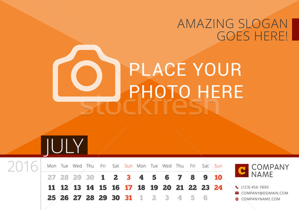 Desk Calendar 2016 Year. Vector Design Print Template with Place for Photo. July. Week Starts Monday Stock photo © mikhailmorosin