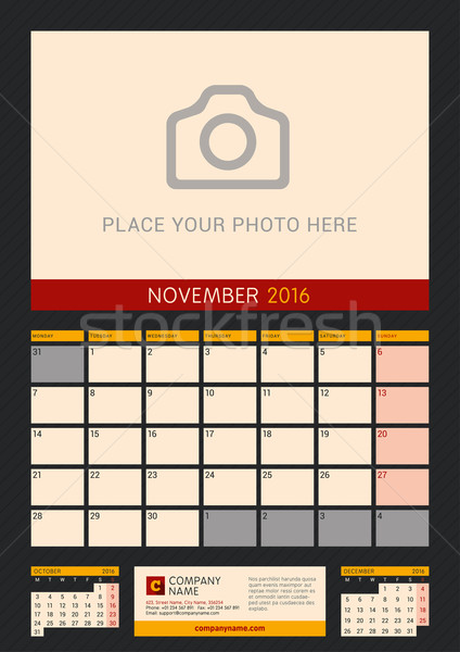 Wall Calendar Planner for 2016 Year. Vector Design Print Template with Place for Photo on Dark Backg Stock photo © mikhailmorosin