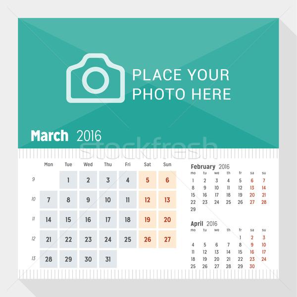 2016 büro takvim yıl hafta ay Stok fotoğraf © mikhailmorosin