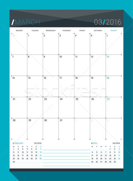 March 2016. Vector Design Print Template. Monthly Calendar Planner for 2016 Year. Week Starts Monday Stock photo © mikhailmorosin