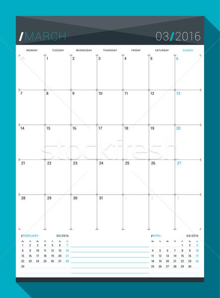 Planner Style Calendar Template : March vector design print template monthly calendar