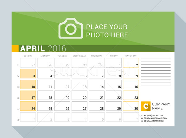 Calendar Planner for 2016 Year. April. Vector Print Template with Place for Photo, Logo and Contact  Stock photo © mikhailmorosin